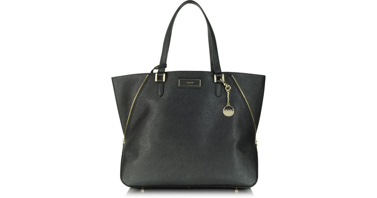 58125d900255 DKNY - Black Large Saffiano Leather Zip Tote - Lyst