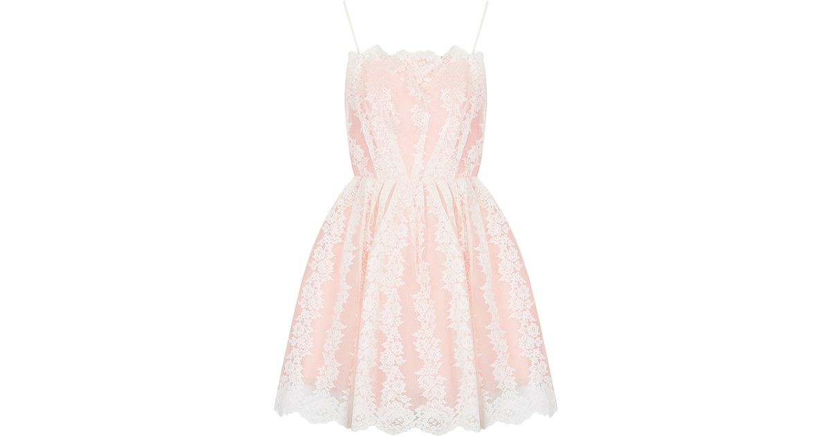 3a7d72ce1475 TOPSHOP Petite Strappy Lace Prom Dress in Pink - Lyst