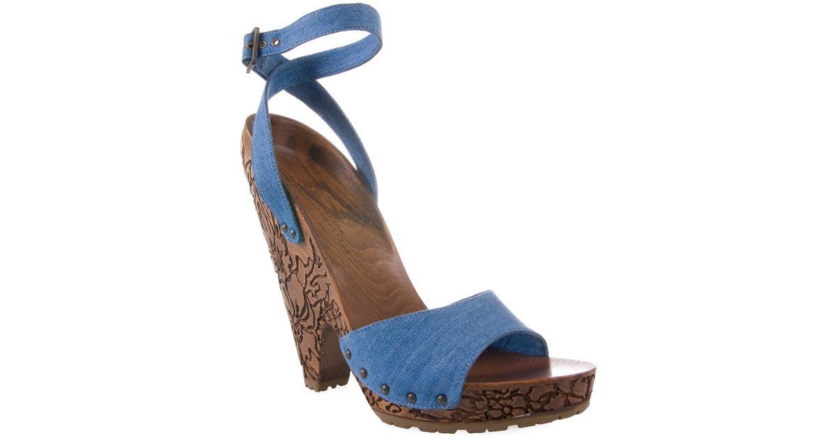 90158c690c3 Lyst - Stella McCartney Denim Sandal with Carved Wooden Heel in Blue