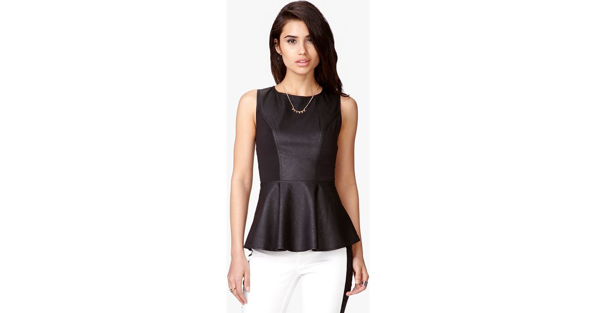 8bd651a4cd Lyst - Forever 21 Faux Leather Peplum Top in Black