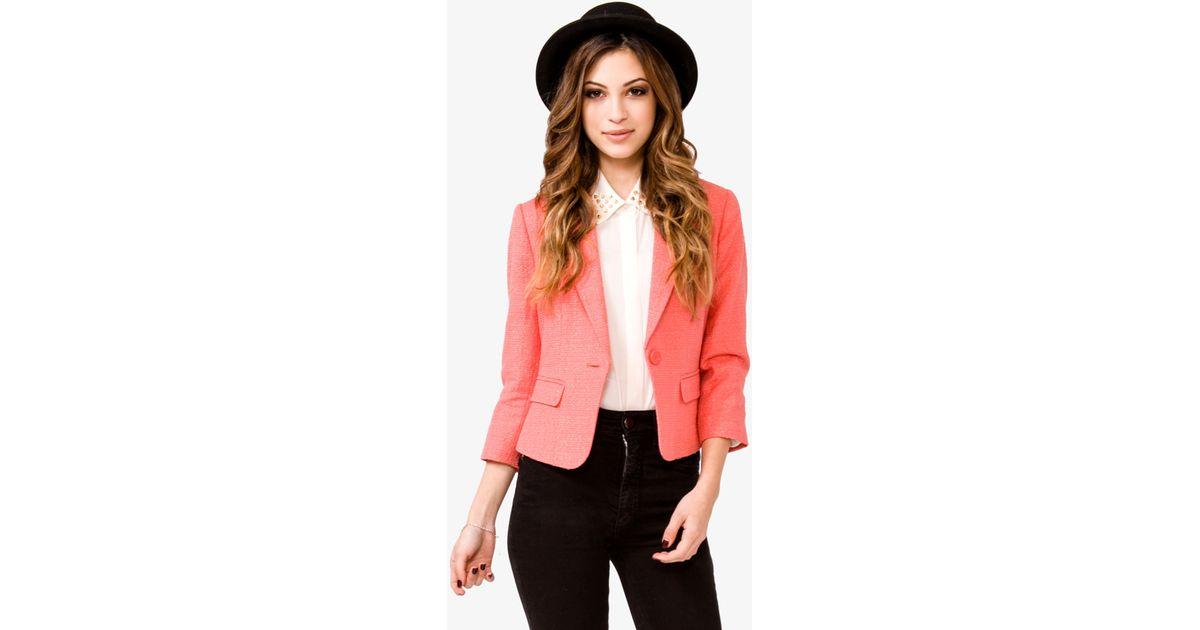 8c12c7b01b6 Forever 21 Metallic Tweed Blazer in Pink - Lyst
