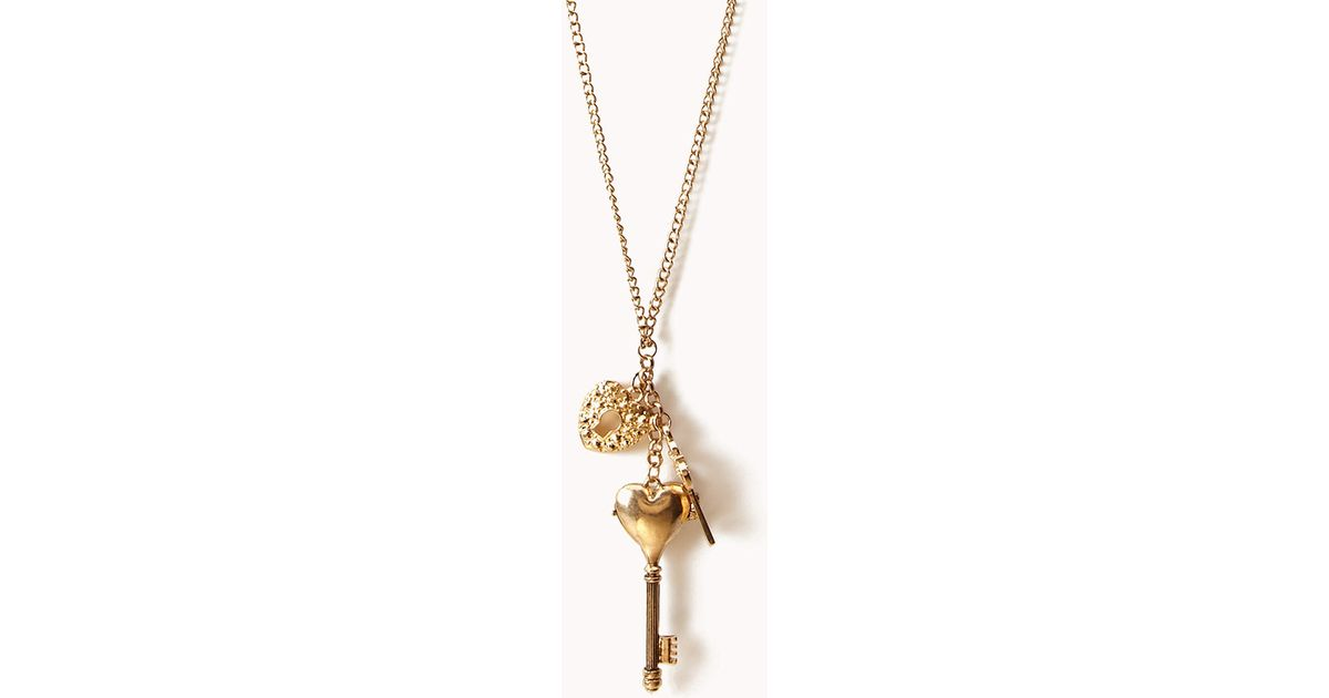 Lyst forever 21 heart key lock necklace in metallic aloadofball Image collections