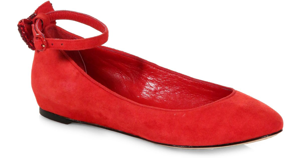 89f3177c458 Lyst - Alice + Olivia Dakota Suede Ankle Strap Ballet Flats in Red