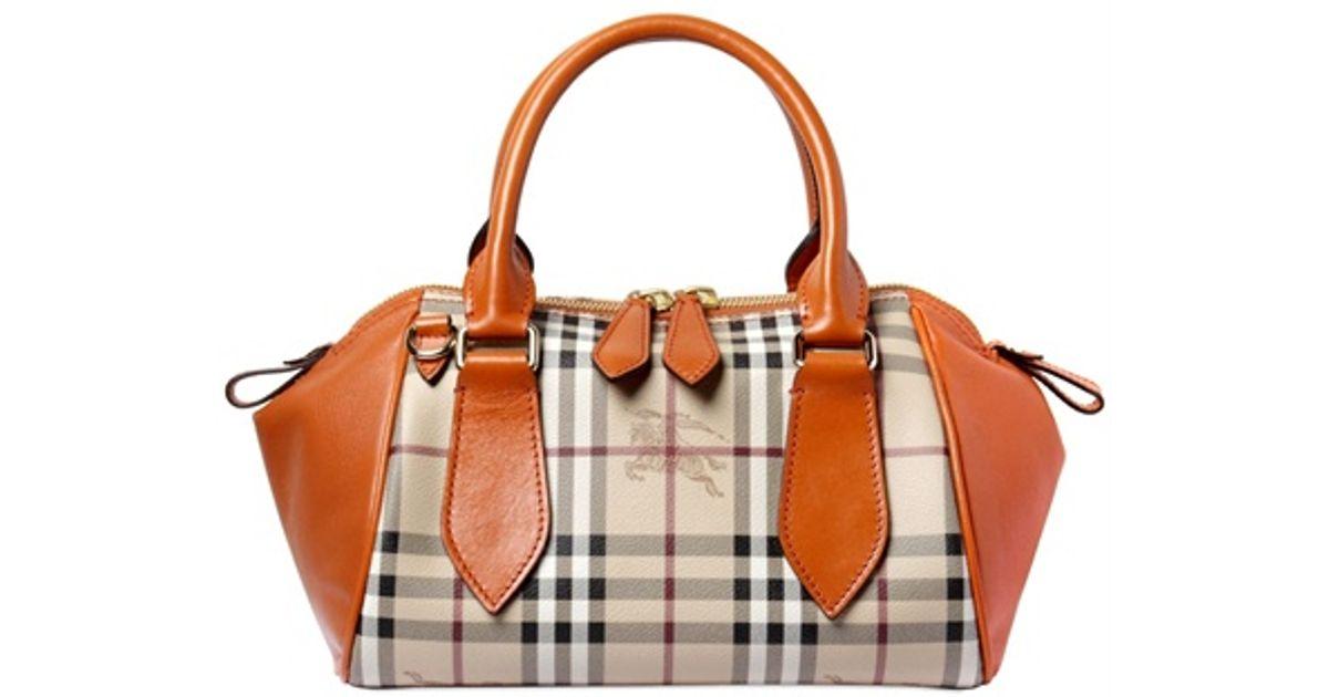 f9aa20d91570 Lyst - Burberry Small Blaze Haymarket Top Handle Bag in Orange