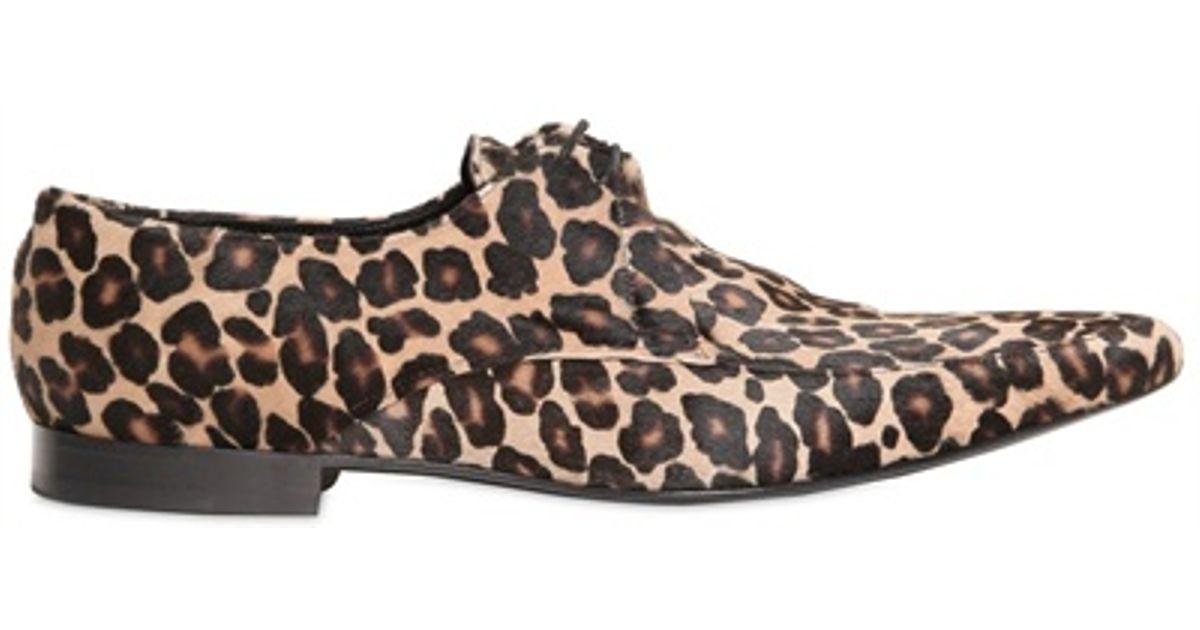 c06c73de7ca4 Lyst - Burberry Prorsum Leopard Printed Ponyskin Lace-up Shoes in Natural  for Men