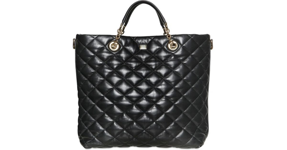 Lyst - Dolce & gabbana Kate Quilted Nappa Leather Tote Bag in Black : quilted black tote bag - Adamdwight.com