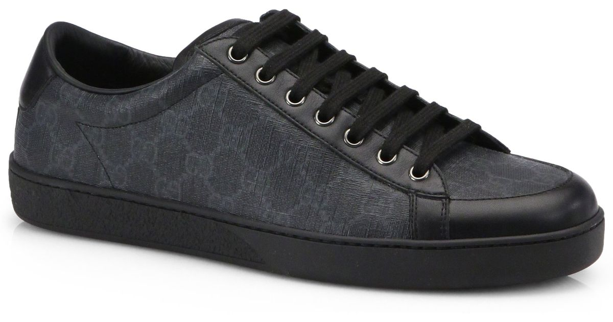 gucci brooklyn gg laceup sneakers in black for men lyst