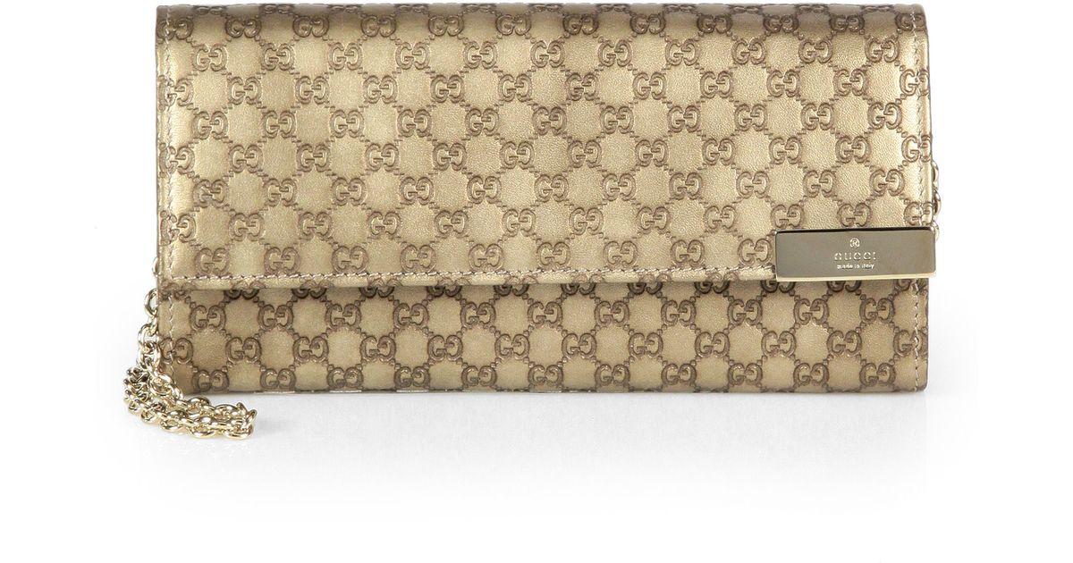 39bfa661888747 Gucci Dice Metallic Microguccissima Leather Chain Wallet in Metallic - Lyst