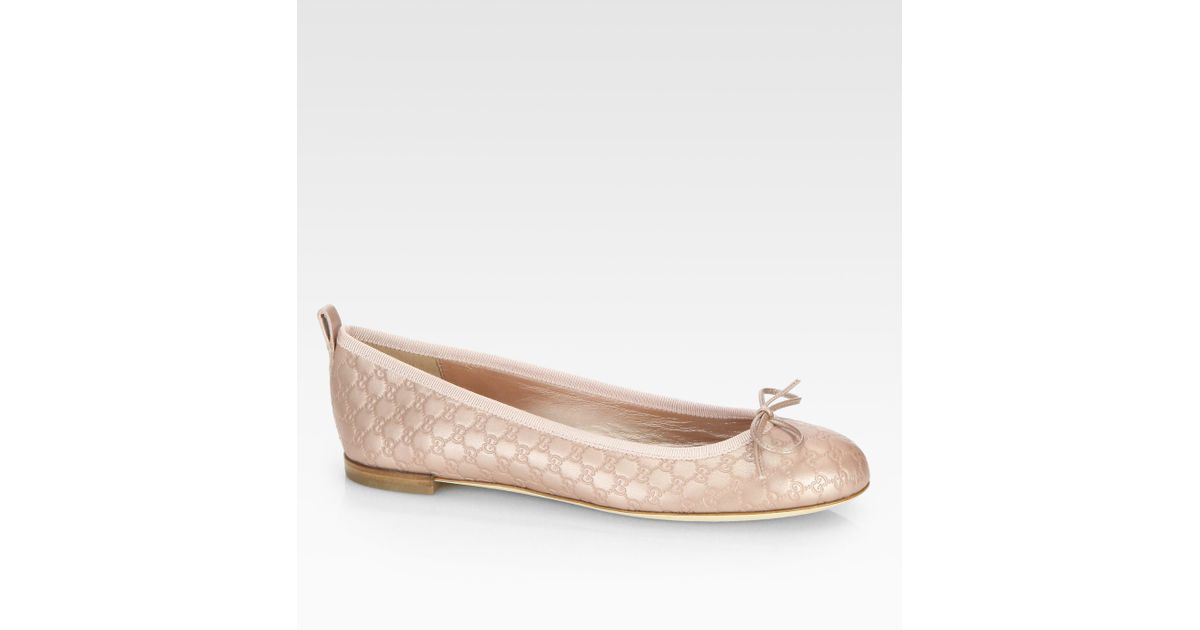 7092ecab823 Lyst - Gucci Gg Metallic Leather Ballet Flats