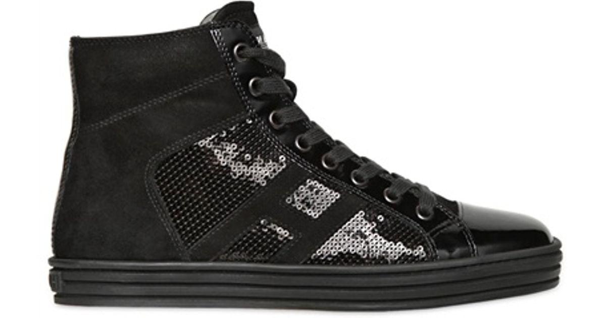 Lyst - Hogan Rebel 20mm High Top Suede Sequins Sneakers in Black 01bae6a0daf