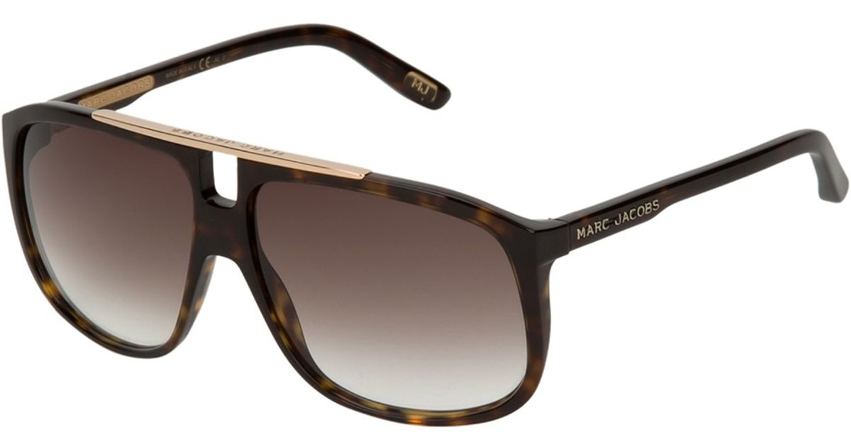 c47139fbfa32 Lyst - Marc Jacobs Flat Top Tortoise Shell Sunglasses in Brown for Men