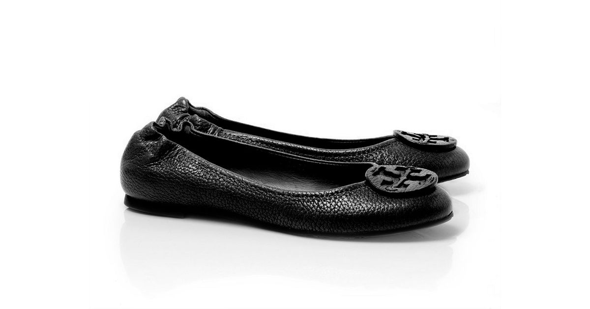 f9cb8c96050 Lyst - Tory Burch Tumbled Leather Reva Ballet Flat in Black