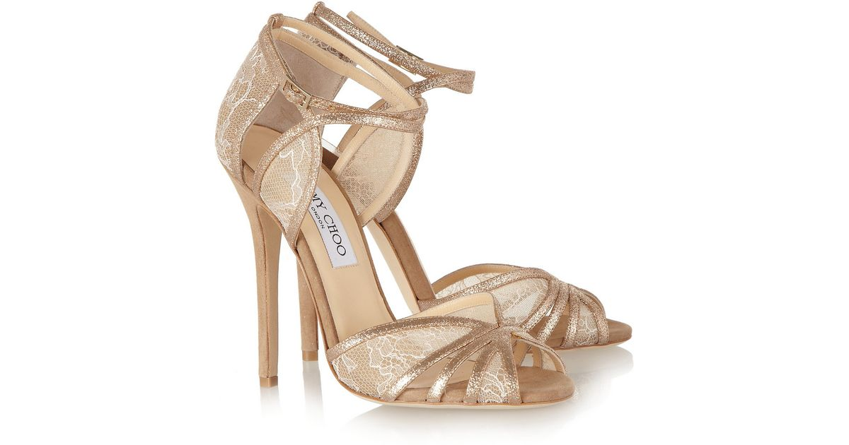 c1bdf0aab76 Lyst - Jimmy Choo Fitch Lace and Glitter Finish Suede Sandals in Natural