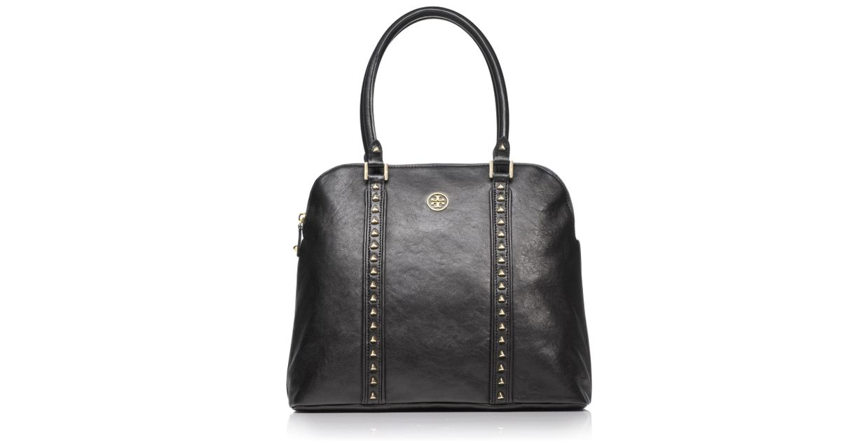 631f26bf7db8 Lyst - Tory Burch Pyramid Stud Dome Tote in Black