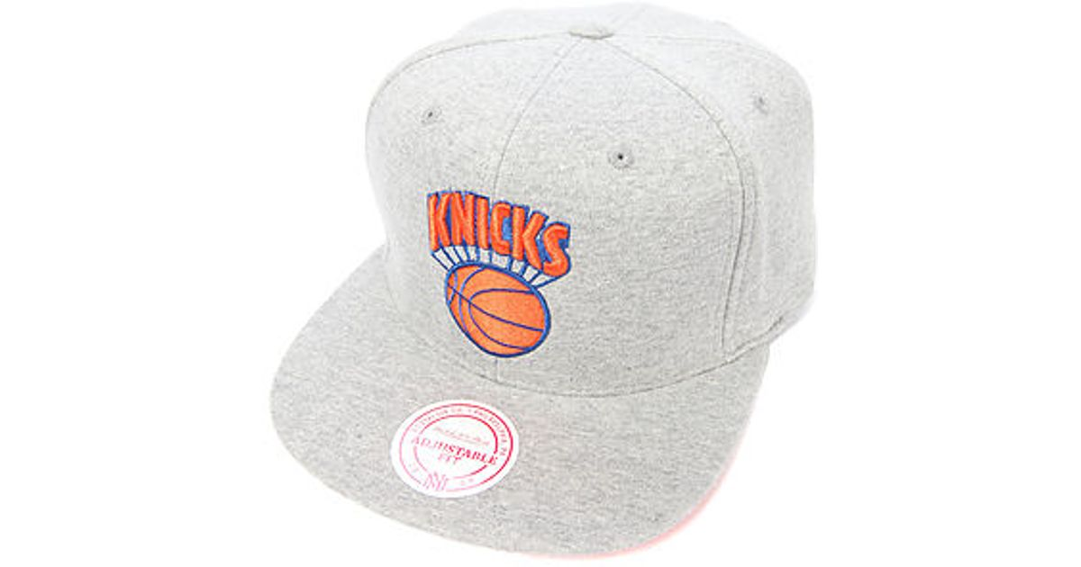 4f5cc86c340 Lyst - Mitchell   Ness The New York Knicks Hardwood Classic Heathered Snapback  Cap in Gray for Men
