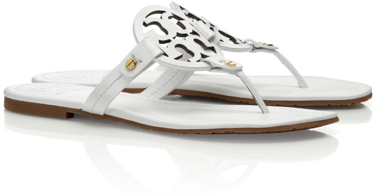 58b96c20a9d98 Lyst - Tory Burch Patent Leather Miller Sandal in White