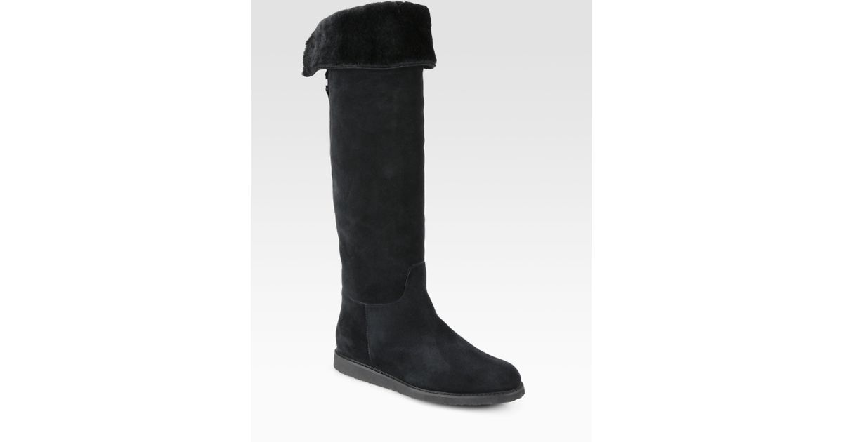 ferragamo my ease suede fur lined boots in black lyst