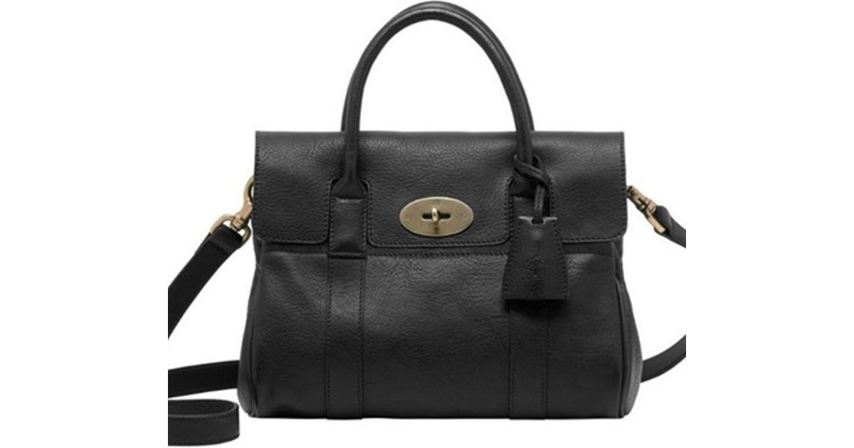b4cd36658b Mulberry Small Bayswater Natural Leather Bag in Black - Lyst