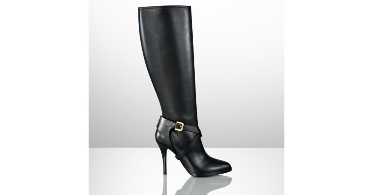 3cfa25a26920 Lyst - Ralph Lauren Collection Concord Calf Highheel Boot in Black