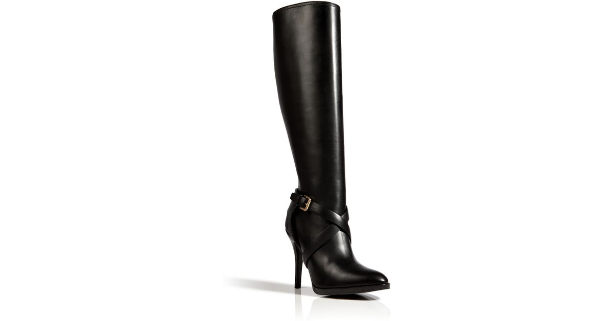 96a7f0864ffc Lyst - Ralph Lauren Collection Leather Concord High Heel Boots In Black in  Black