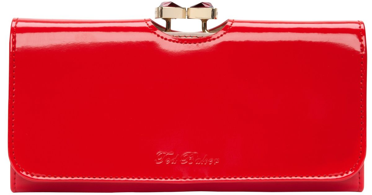 209c52441f73 Ted Baker Titiana Crystal Bow Bobble Patent Matinee Purse in Red - Lyst