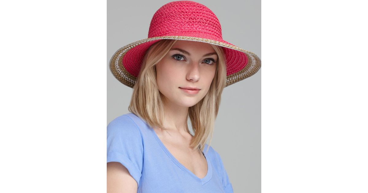 d4ad0a65a4b3b Lyst - Eric Javits Squishee Iv Short Brim Sun Hat in Pink