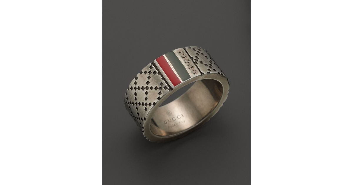 dcfc21cf2446 Gucci Aged Sterling Silver and Enamel Diamantissima Motif 8mm Ring in  Metallic for Men - Lyst
