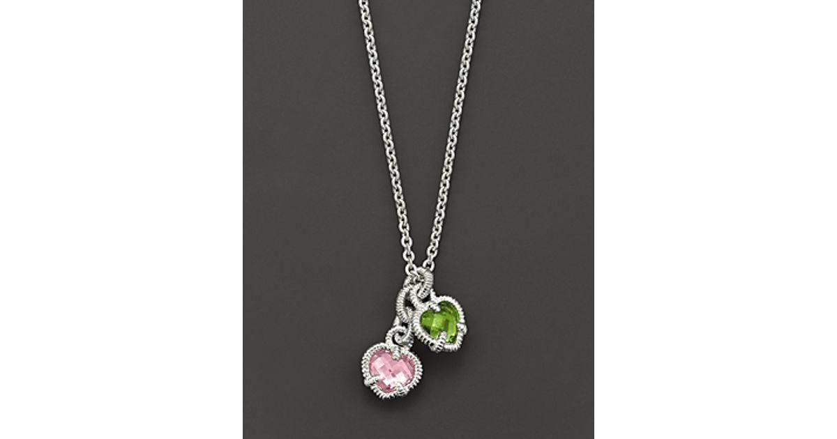 Lyst judith ripka sterling silver twin heart necklace with pink lyst judith ripka sterling silver twin heart necklace with pink and peridot crystal in metallic aloadofball Images