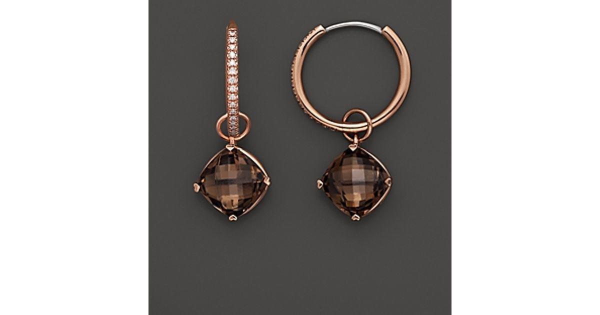 Lyst Lisa Nik 18k Rose Gold Diamond Hoop Earrings With Smokey Quartz Detachable Drops In Metallic