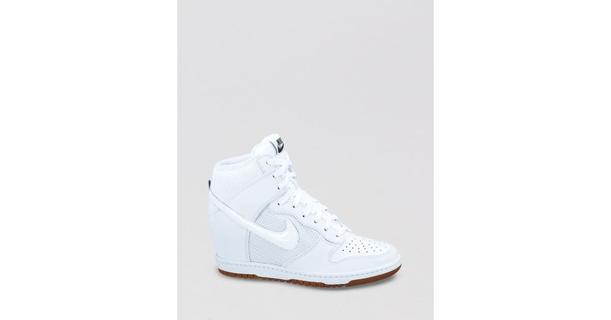 lyst nike lace up high top sneaker wedges womens dunk sky hi mesh in white