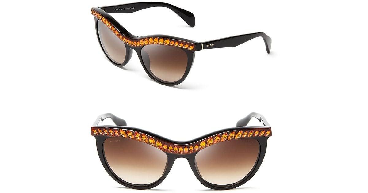 fb28776882c0 ... clearance lyst prada jeweled cat eye sunglasses in black 24e0d 523b1