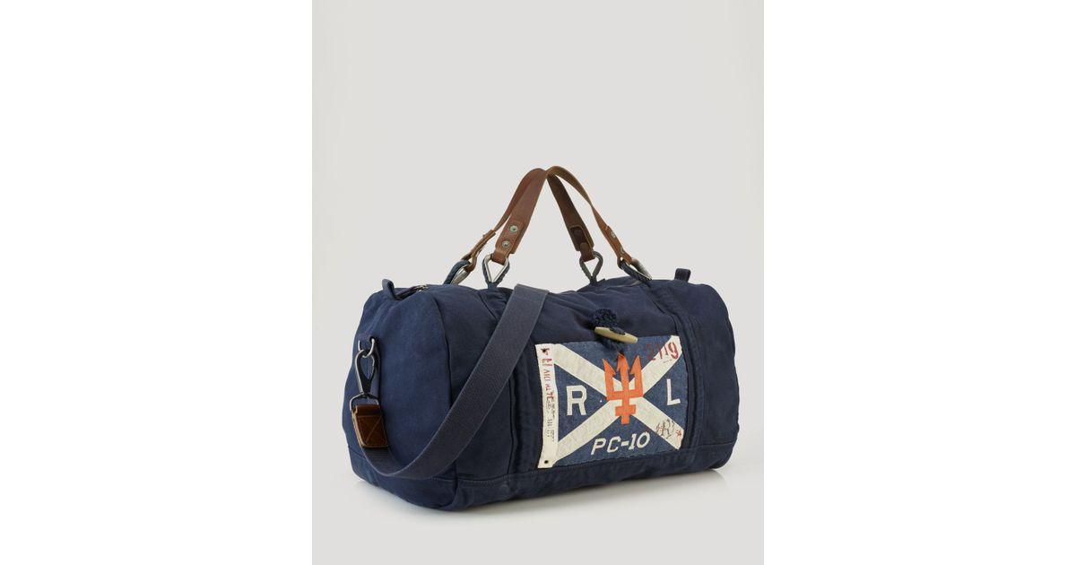 Lyst - Ralph Lauren Polo Sailrope Canvas Duffel Bag in Blue for Men 90b0deaea268b