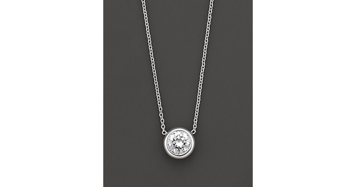 Lyst roberto coin 18 kt white gold bezel set diamond solitaire lyst roberto coin 18 kt white gold bezel set diamond solitaire pendant 024 ct tw in white mozeypictures Image collections