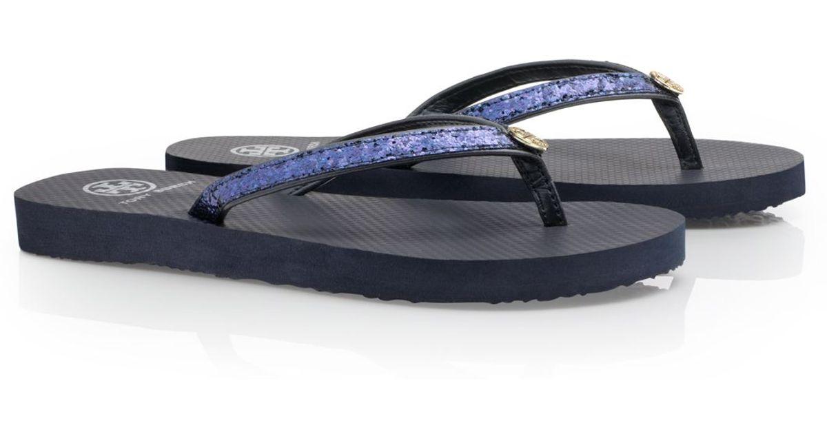 9e9f55cc5 Tory Burch Adia Glitter Flip Flop in Blue - Lyst