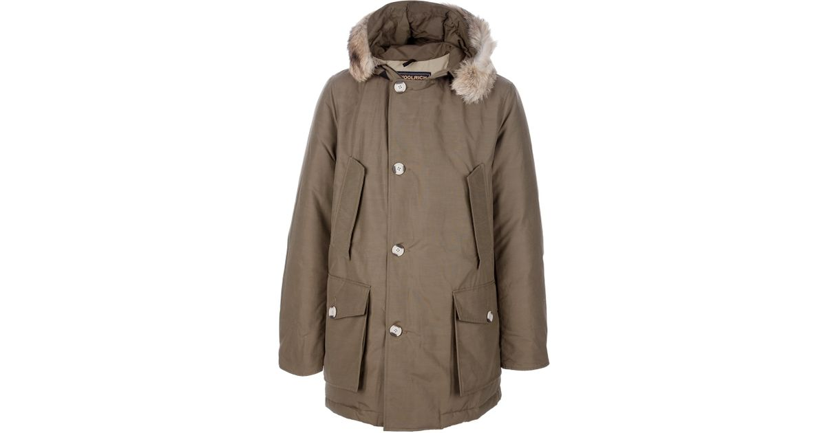 Woolrich Padded Parka Coat in Brown for Men | Lyst