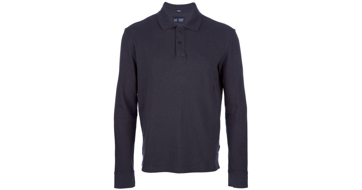 33c9966becdaf Lyst - Armani Jeans Long Sleeve Polo Shirt in Blue for Men