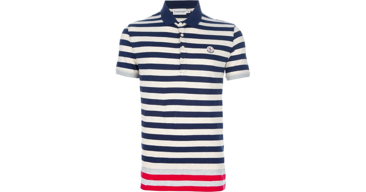 034cf0312497 Lyst - Moncler Striped Polo Shirt in Blue for Men
