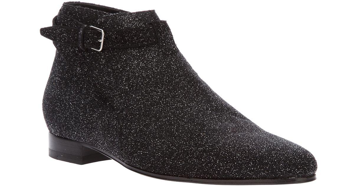11b0db10106 Saint Laurent Glitter Boots in Black - Lyst