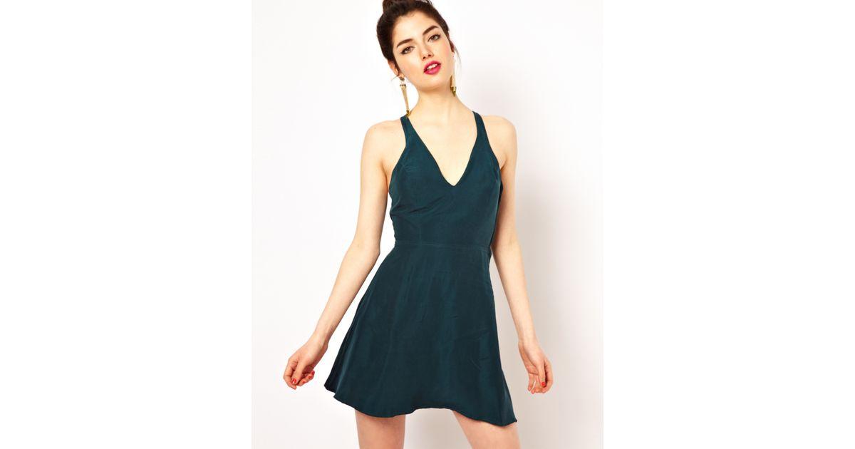 Lyst - Boulee Woven Skater Dress in Silk in Blue 3208dec26