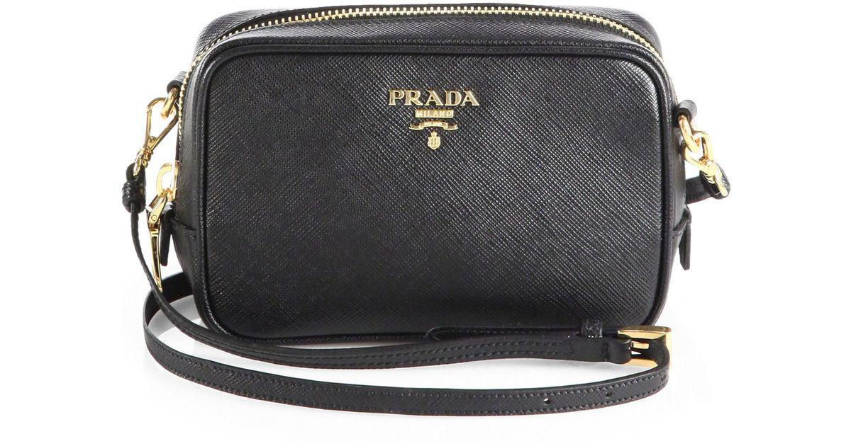 aaa replica handbags suppliers - Prada Saffiano Leather Camera Bag in Black (NERO-BLACK) | Lyst