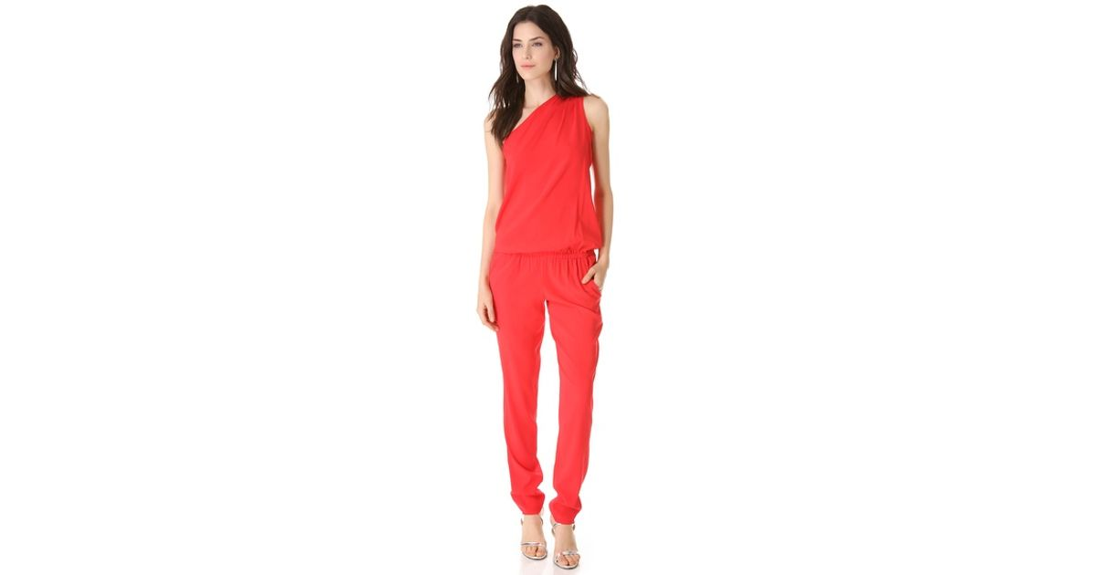 af3ddfe2abb1 Lyst - Ramy Brook Lulu One Shoulder Jumpsuit in Red