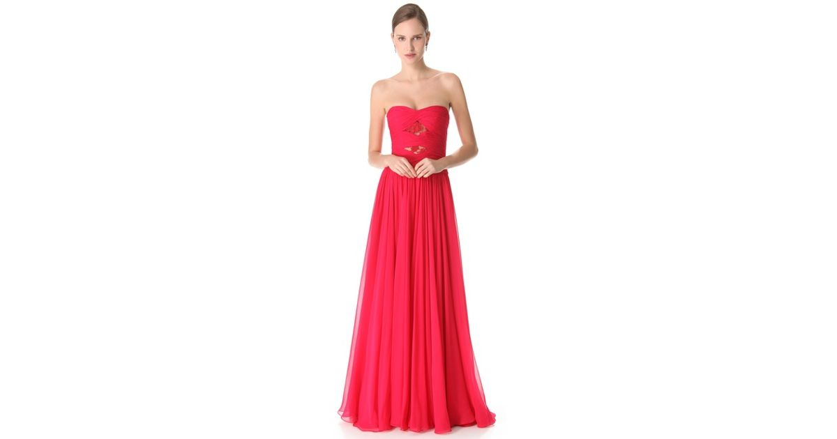 Lyst - Reem Acra Twisted Strapless Dress in Red