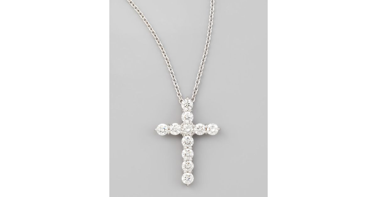 Lyst roberto coin 18 white gold diamond cross pendant necklace lyst roberto coin 18 white gold diamond cross pendant necklace 144ct in white aloadofball Image collections