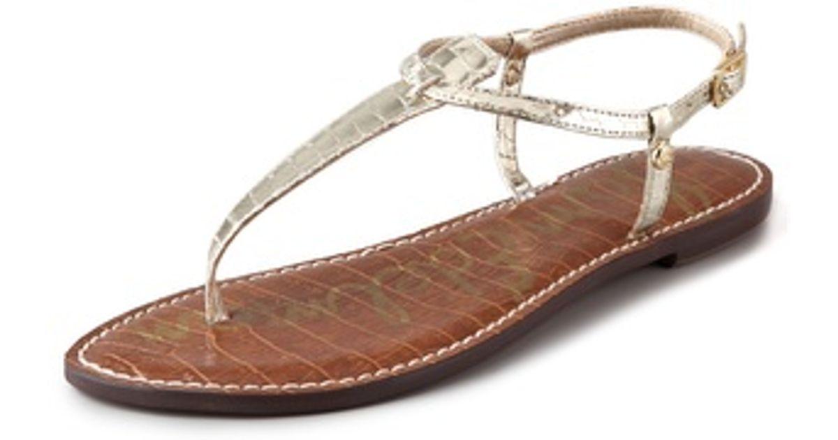 Lyst Sam Edelman Gigi T Strap in Flat Sandales in Strap Metallic 081474
