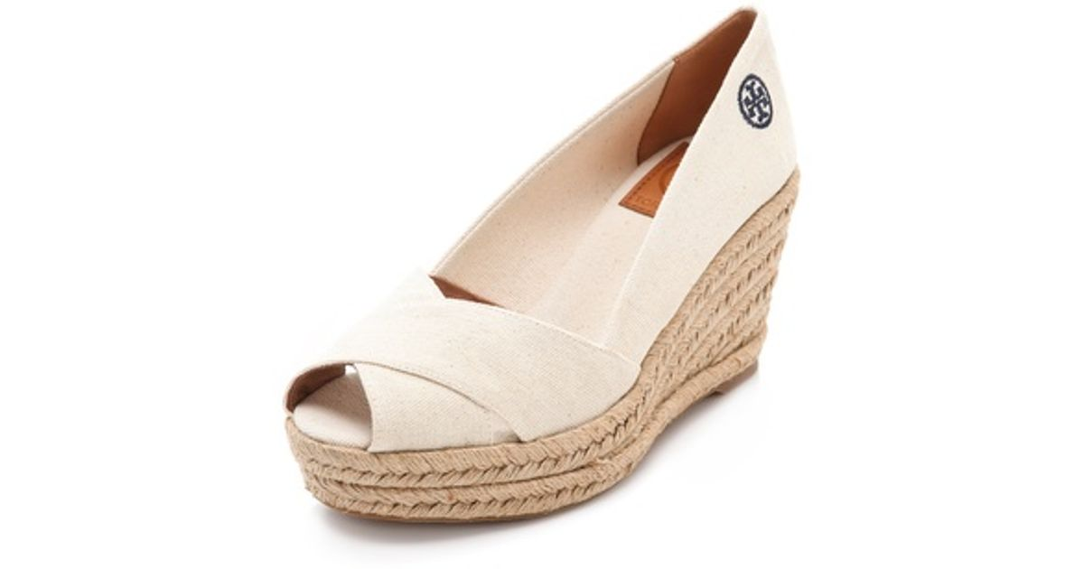 912160845 Lyst - Tory Burch Filipa Wedge Espadrilles in Natural