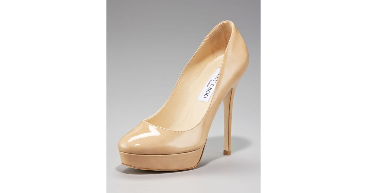 b4998710ec230 Lyst - Jimmy Choo Cosmic Patent Platform Pump in Natural