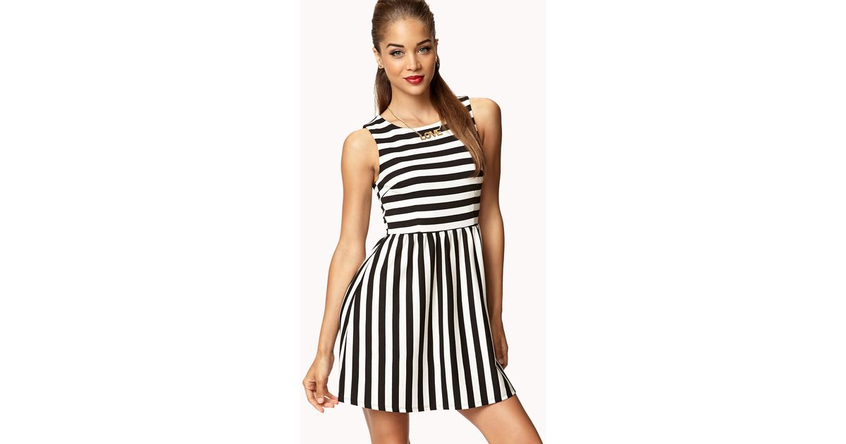 Lyst Forever 21 Striped Fit Flare Dress In White