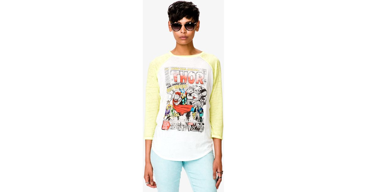 6636b737 Forever 21 Thor Baseball Tee in Yellow - Lyst