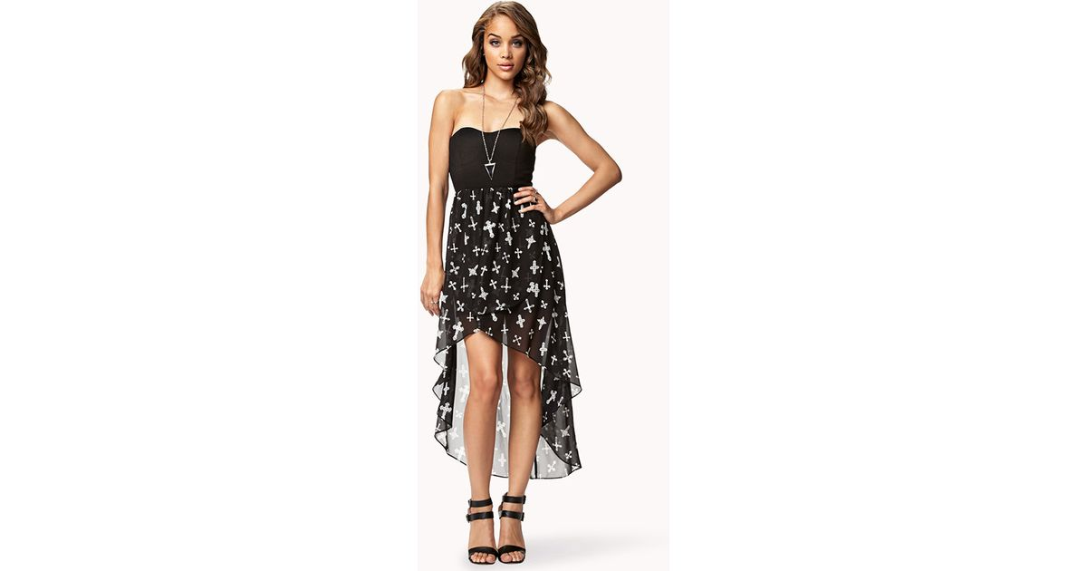 0a7daad6f1f Forever 21 Cross Print High-low Dress in Black - Lyst