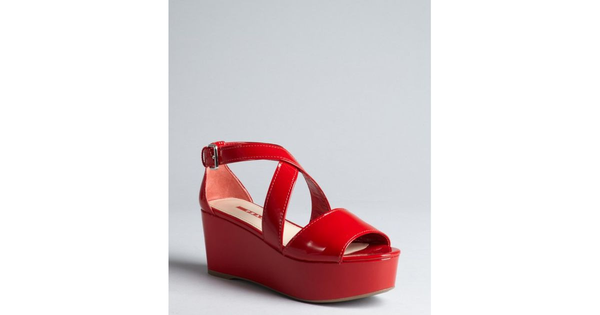 95d9effc510 Lyst - Prada Sport Firetruck Red Patent Leather Platform Sandals in Red